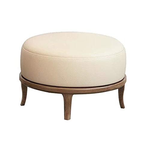Sofa Stool PU Leather Ottoman Footrest Modern Home Living Room Bedroom Stool for Living Room Bedroom (Color : White, Size : 32x50cm)