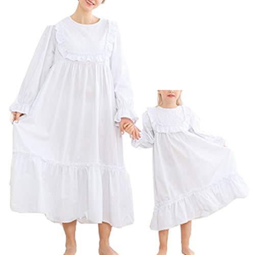 Moeder en dochter bijpassende pyjama lange mouwen nachthemd prinses nachten wit vintage nachtjapon slaapmode
