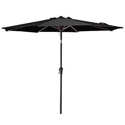 VOUA 10' Patio Umbrella Outdoor Market Umbrella Table Umbrellas with 8 Ribs Push Button Tilt and Crank UV Protection Outside Garden Pool Umbrella, Black