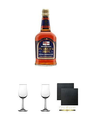 Pussers British Navy Rum 40% Virgin Islands 0,7 Liter + 2 Bugatti Nosing Gläser mit Eichstrich 2cl und 4cl + 2 Schiefer Glasuntersetzer eckig ca. 9,5 cm Ø