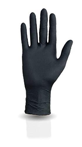 100 Stück Nitrilhandschuhe in Spender-Box - puderfrei, nicht steril, schwarz - Einweghandschuhe Einmalhandschuhe (M)