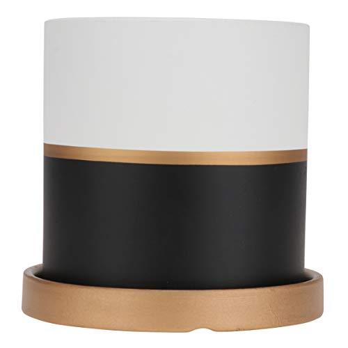 WINOMO Ceramic Flower Pot Garden Planter with Saucer Tray Indoor Round Planter Pots Container for Office Home Decor 11 cm x 11 cm Black White