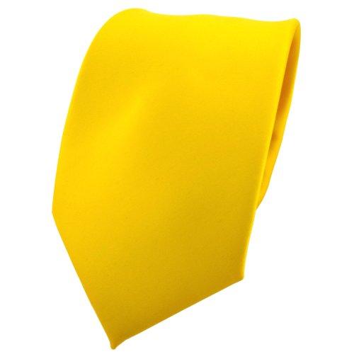 TigerTie Designer Satin Krawatte in gelb verkehrsgelb knallgelb einfarbig uni
