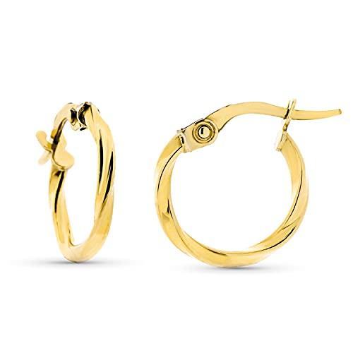 Pendientes de Aro Mujer Oro Amarillo 18 Kt / 750 Retorcidos 15 Mm Cierre Clip