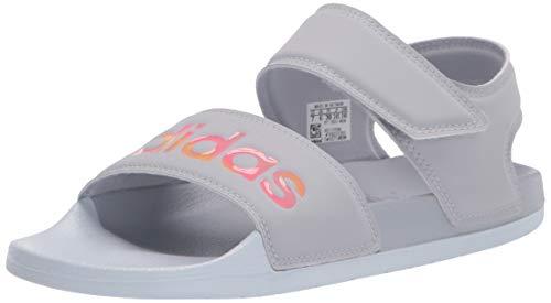 adidas Sandalia Adilette para mujer, Halo Plata/Iridescent/Halo Azul, 8 US