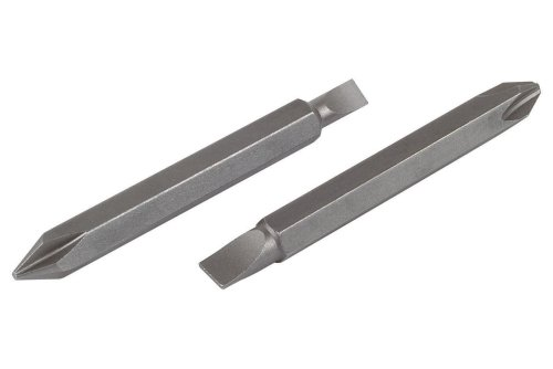 Wolfcraft 2407000 Puntas Dobles Solid, 60 mm, para taladradora electrónica, 1 4,5 mm Phillips tamaño 2 x Ranura 5,5 mm Pack 2, Plata, Set de 2 Piezas