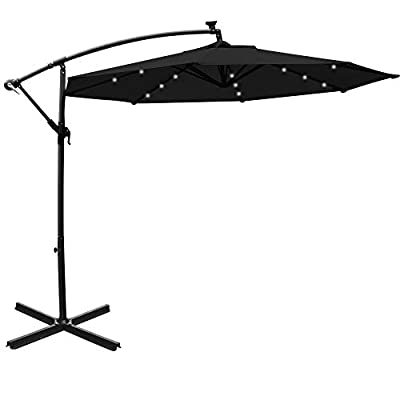 Mefo garden 10ft Solar Patio Outdoor Umbrella Offset Cantilever Hanging Umbrella 360 Degree Rotation with 24 LED Lights and Heavy Duty Steel Cross Base (Black)