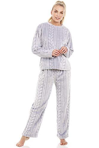 Conjunto de Pijama Forro Polar Supersuave Motivo Trenzado - Gris