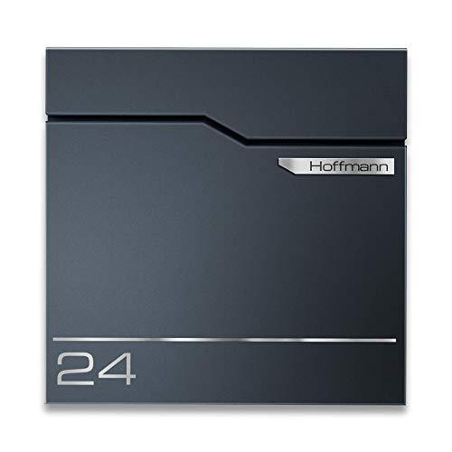 Metzler Exklusiver Briefkasten in Anthrazit RAL 7016 - Wandbriefkasten mit V2A Edelstahl-Namensschild - Postkasten inkl. Zeitungsfach - Größe: 37 x 37 x 10,5 cm