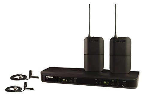 Sistema de micrófono inalámbrico Shure BLX188/CVL para dos presentadores con receptor BLX88 de doble canal, 2 mochilas BLX1 y 2 micrófonos de condensador CVL Centraverse Lavalier