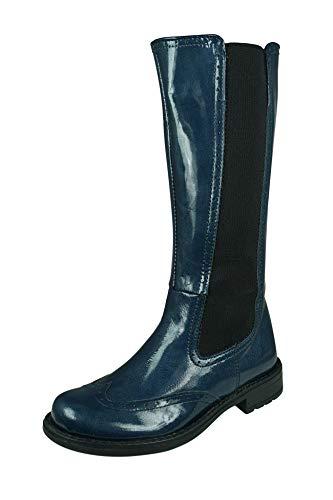 Angela Brown Cool Girls Twiggy Mädchen Lackleder Reitstiefel Knie Hohe Reißverschluss Winter-Blue-32