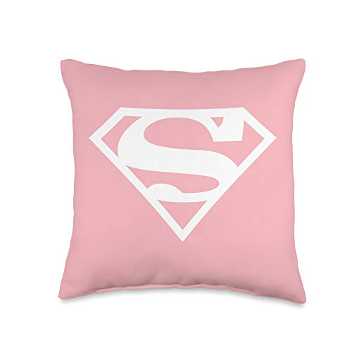 Supergirl White & Pink Shield Throw Pillow, 16x16, Multicolor