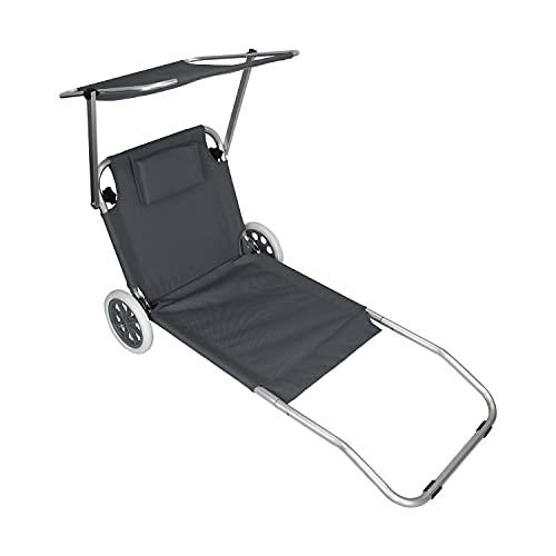 Wohaga Aluminium Sonnenliege 'Melbourne' rollbar mit Sonnenschutz Grau, Strandliege Liegestuhl Klappliege