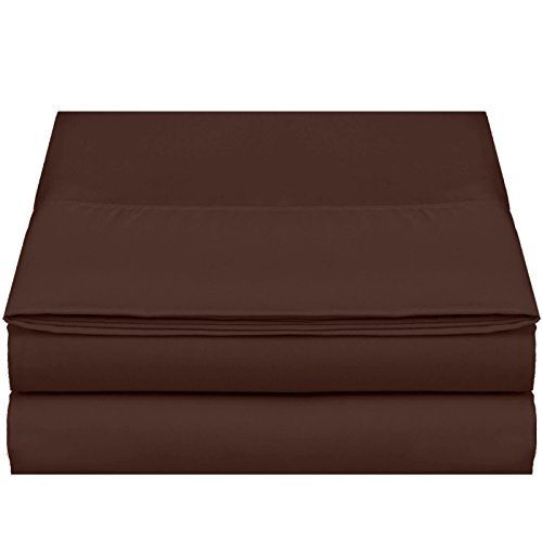 """Empyrean Bedding Premium Flat Sheet – """"110 GSM"""" Double Brushed Microfiber Extra Thick and Comfortable Flat Sheets, Luxurious & Soft Hotel Single Top Bed Sheet Hypoallergenic, Full, Chocolate Brown"""