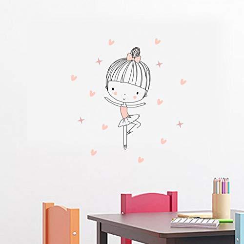 3 piezas/juego de lindas chicas de ballet que bailan pegatinas de pared de vinilo pegatinas de pared divertidas de bailarina decoran la habitación de los niños decoración del hogar del dormitorio
