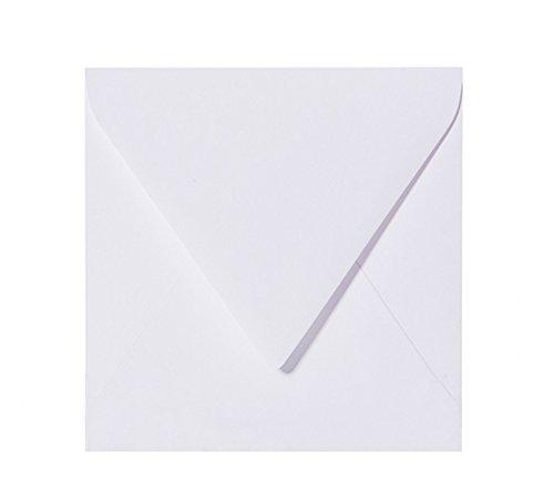 25 quadratische Briefumschläge im Format 155x155 mm, DREIECKSLASCHE , 120gr für 150x150 mm (15 x 15 cm) Karten; Farbe: Weiß
