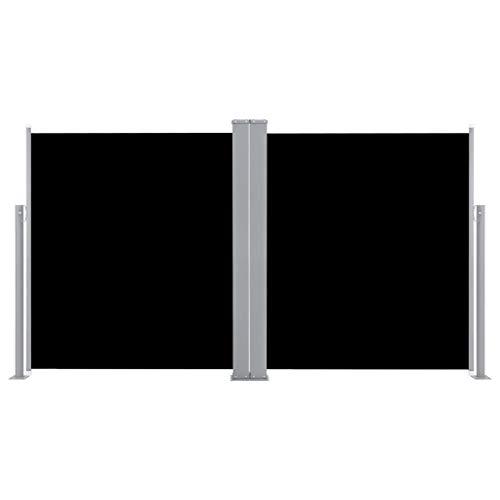 vidaXL Seitenmarkise Ausziehbar Doppel Sonnenschutz Sichtschutz Windschutz Seitenrollo Markise Seitenwandmarkise Balkon Garten Terrasse 170x600cm Schwarz