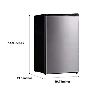 Midea WHS-160RSS1 Compact Single Reversible Door Refrigerator and Freezer, 4.4 Cubic Feet, Stainless Steel