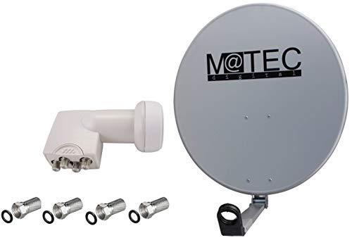 M@tec digitale satellietantenne - spiegel 80 cm staal lichtgrijs + Quad LNB 0,1 dB incl. F-stekker aanbieding