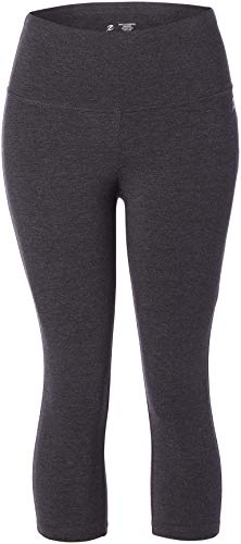 Energy Zone Women's Cotton Stretch High Waist Crop Legging, Charcoal Heather, X-Large