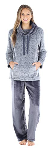 Sleepyheads Women's Fleece 2-Piece Cowl Neck Pullover Loungewear Pajamas, Cowl Neck Set- Light Blue, 2X