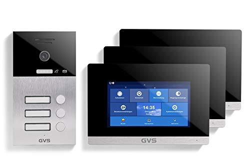 GVS AVS1043U - Videoportero IP de 4 cables, estación de puerta empotrada IP65, monitor de 3 x 7 pulgadas, aplicación, cámara HD de 120 °, función de apertura de puerta, 32 GB de memoria, conmutador PoE, 3 juegos de casa familiar