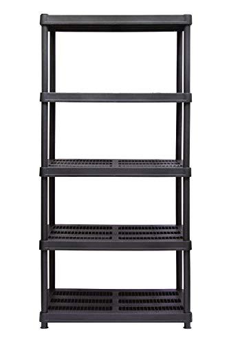 "Juggernaut Storage Plastic Shelving, 36"" Width x 72"" Height x 18"" Depth, Black (RS3618-5BLK)"