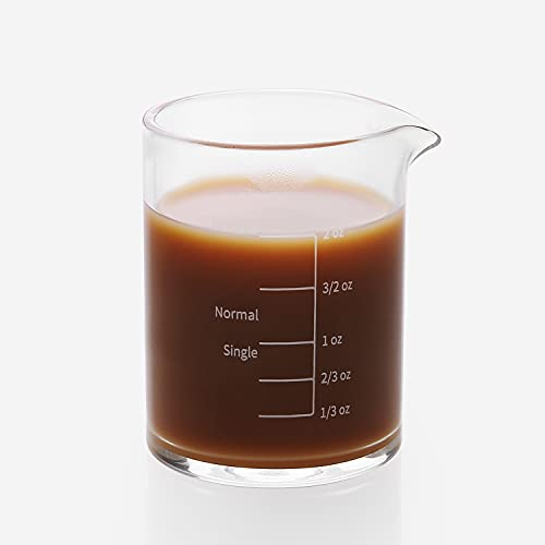 BCnmviku 1 Pack Espresso Shot Glass 2OZ Triple Pitcher Barista Single Spouts Heat-resistant Glass