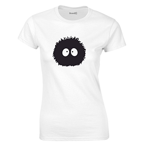 Print Wear Clothing Susuwatari, Mesdames T-Shirt imprimé - Blanc/Noir M = 82-86cm