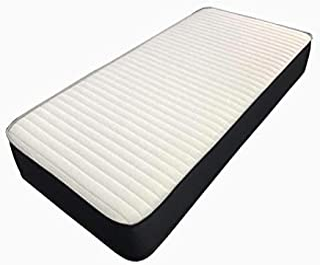 BEDZONLINE enkel madrass, 0,9 m minnesskum madrass, fjädermadrass med minnesskum svart kant och en lyxig stickad quiltat s...