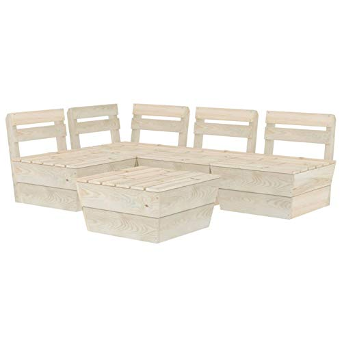 Tidyard Muebles de palets para jardín Sofá de palés para jardín 4# 5 pzas Madera de Abeto impregnada