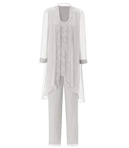 Pretygirl Damen 3 Stück Elegante Pailletten Chiffon Kleid für die Brautmutter Hose mit Jacke Outfit für Hochzeit(US 16 Plus, Elfenbein)
