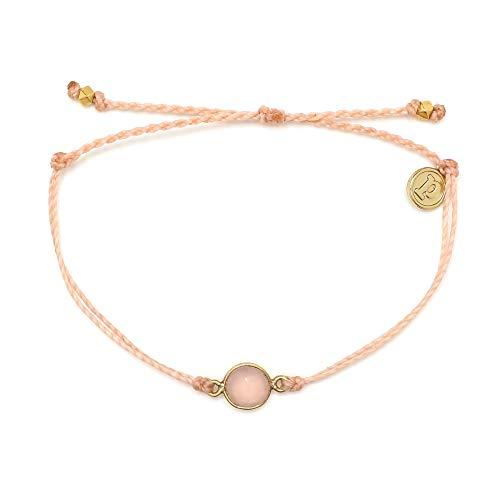 Pura Vida Gold Rose Quartz Blush Bracelet - Waterproof, Artisan Handmade, Adjustable, Threaded, Fashion Jewelry for Girls/Women