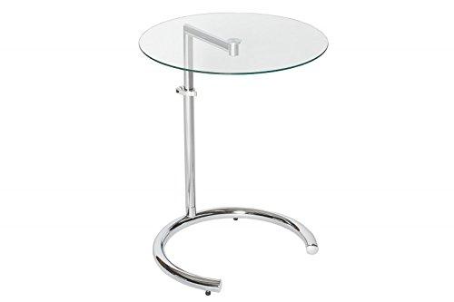 DuNord Design Beistelltisch Glastisch Calais Chrom/Glas höhenverstellbar Art Deco Design Tisch Sofatisch