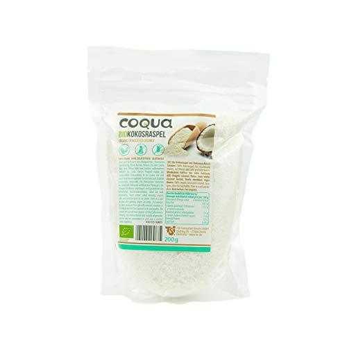 Coqua Bio Kokosraspel 5er Pack, 5 x 200g, Topping, zum Kochen und Backen