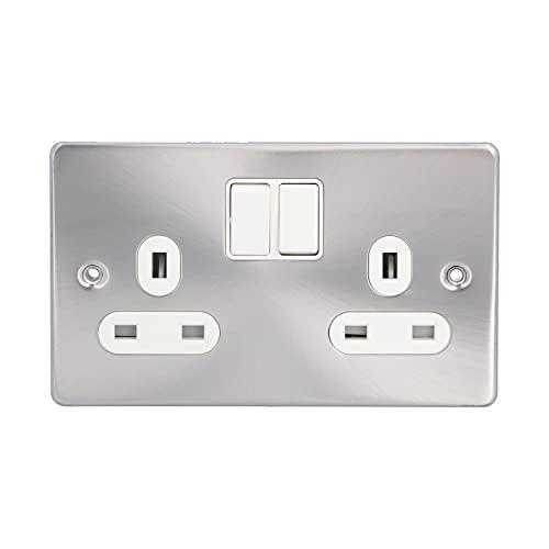 Enchufe de pared Salida de fuente de alimentación estándar de Reino Unido doble con interruptor Enchufe de pared con buena conductividad eléctrica 250V 13A