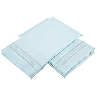 Clara Clark Premier 1800 Collection Pillowcases, Standard, Light Blue Aqua