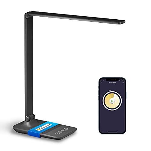 Lámpara de Escritorio LED WiFi Inteligente, Lámpara de mesa WLAN, con 3 colores y 4 niveles de brillo, Lámpara regulable de 10W con control táctil, Compatible con HomeKit, Alexa, Google Home, Meross
