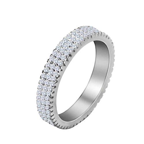 geshiglobal Anillos para mujeres y niñas de lujo con incrustaciones de diamantes de imitación para el dedo anillo de boda, compromiso, joyería de regalo, Silver*US 6, Cobre,