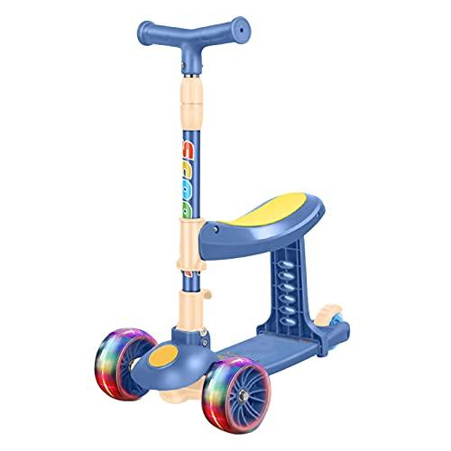 K-Park Patinete de patada, plegable de altura ajustable, fácil de llevar con 3 ruedas con ruedas de PU intermitentes para niños y niñas