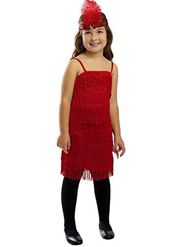 Funidelia   Disfraz de charlestón Rojo para niña Talla 7-9 años ▶ Años 20, Cabaret, Gángster, Décadas - Multicolor