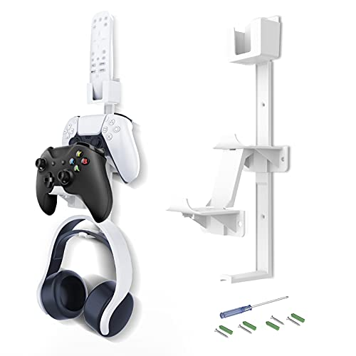NexiGo Wall Mount Accessory Stand, for PS5/ PS4/ Switch/Xbox One/Xbox Series X&S/PC/Steam and More, Stand Bracket with Game Controller/Headset/Media Remote Hanger, White
