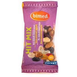 Hit Mix avellanas, anacardos, almendras, arándanos y uvas, bolsillo 60 g – Bimed