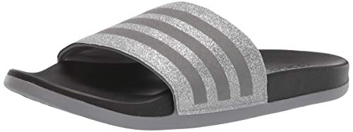 adidas Kid's Adilette Comfort K Sandal, Grey Metallic/Grey Metallic/Black, 3 Medium US Little Kid