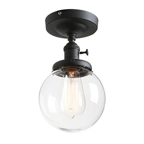 Phansthy Vintage Ceiling Light Fitting with Switch, Modern Clear Glass Flush Mounted Ceiling Lamp E27 Base, Hallway Lighting Fixtures Suitable for Kitchen Loft Cafe Bar (Black)