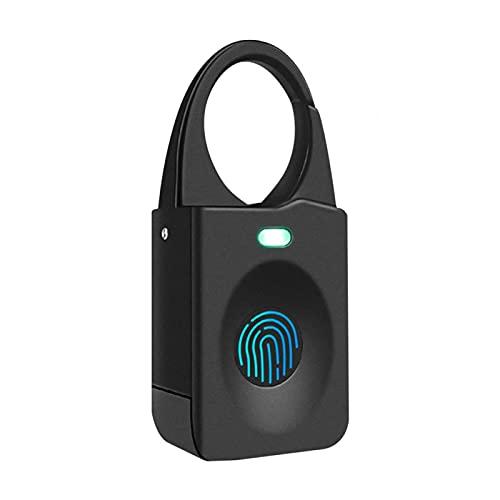 Candado de huellas dactilares, candado inteligente con biométrico sin llave, recargable por USB, apto para mochila, equipaje, maleta, gimnasio, deportes, armario escolar