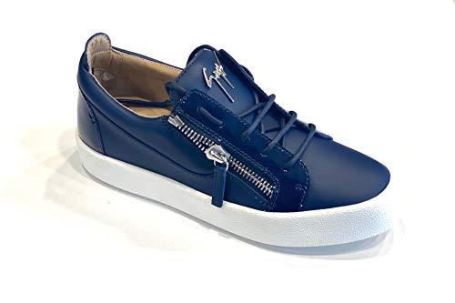 Zanotti Sneakers in Pelle Blu E Vernice Blu (42)
