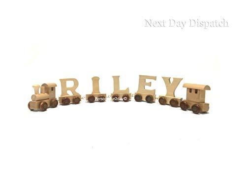 Personalisierbares Holz-Alphabet Buchstabe Zug A-Z Namens-Set, alle Buchstaben erhältlich