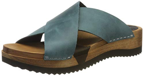 Sanita Damen Tida Sport Flex Sandale Pantoletten, Grün (Petrole 17), 39 EU