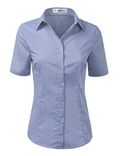 Doublju Womens Slim Fit Plain Classic Short Sleeve Button Down Collar Shirt Blouse Denim M